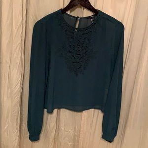 Emerald green + lace top
